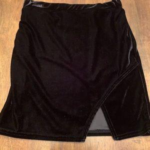 PrettyLittleThing black velvet skirt